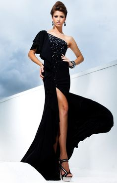 Sheath/Column One Shoulder Satin Floor-length Black Pageant Dress With Split Front at Msdressy