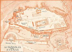 Athens Acropolis Plan 1920s Greece Historical Map by carambas, $12.00