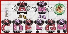 """Delicado Cantinho: Gráficos Ponto Cruz """"Monogramas Mickey e Minnie"""""""