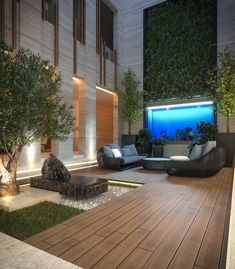 Best Ideas For Modern House Design & Architecture : – Picture : – Description The court yard , private villa kuwait , Sarah sadeq architect Modern Architecture House, Modern House Design, Architecture Design, Interior Garden, Home Interior Design, Design Cour, Verge, Hotel Room Design, Ponds Backyard