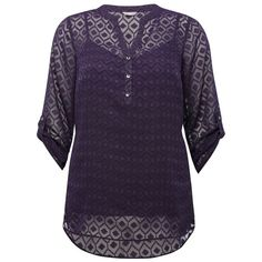 M&Co Plus Ladies Diamond Jacquard Jersey Shirt With Cami Under Layer ($49) ❤ liked on Polyvore featuring tops, plus size, purple, plus size cami, shirts & tops, plus size shirts, plus size tops and 3/4 sleeve shirts