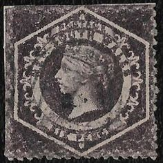 + 1860 New South Wales Australia Queen Victoria #40a.A12 6p a.Aniline Lilac used