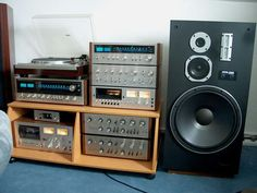 Vintage Component Home Stereo Systems Room Speakers, Big Speakers, Vintage Tv, Vintage Music, Audio Rack, Audio Sound, Record Players, Hifi Audio, Audio Equipment