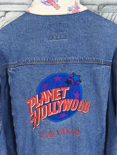 f0307297 Vintage 80s PLANET HOLLYWOOD Trucker Denim Jeans Jacket Xlarge Las Vegas  Usa Planet Hollywood Patch Denim Blue Jeans Jacket Button Size XL