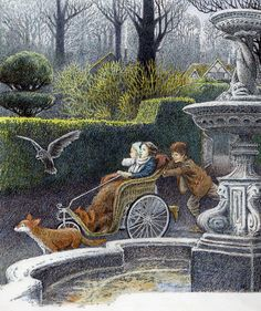 "Following their carefully planned route - ""The Secret Garden"" by Frances Hodgson Burnett, illustrated By Inga Moore."