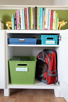 Child work/school stations - Baskets for wet shoes, backpacks, and school supplies all in one.  LOVE!  -- IHeart Organizing: Back To School Organization