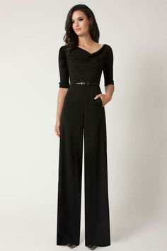 This Sleeve Jackie Jumpsuit by Black Halo is long, wide-legged, elegant, and just perfect! Formal Jumpsuit, Black Jumpsuit, Black Romper, Denim Romper, Elegant Jumpsuit, Jumpsuit With Sleeves, Black Pants, Vintage Outfits, Classy Outfits