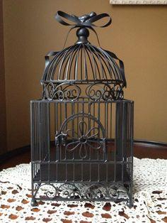 Black Wrought Iron Bird Cage Wedding Bird Cage by NotJustSigns, $75.00