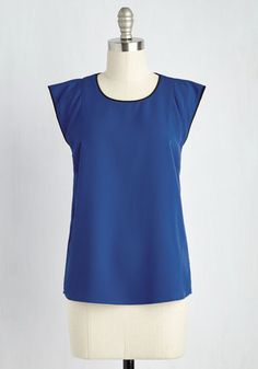 Video Conference Queen Top - Mid-length, Woven, Blue, Solid, Trim, Work, Cap Sleeves, Good, Crew
