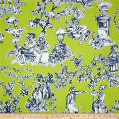 Alexander Henry Nicole's Prints The Romantics Chartreuse from @fabricdotcom  Designed by De Leon Design Group for Alexander Henry, this cotton print fabric is perfect for quilting, apparel and home decor accents. Colors include chartreuse green, cream and dark blue.