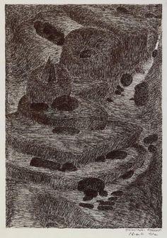 Shuvinai Ashoona, Rock Landscape, 1998, Fineliner on ivory wove paper, 33 x 25.5 cm, National Gallery of Canada, Ottawa. #ArtCanInstitute #CanadianArt Contemporary Artists, Modern Contemporary, Canadian Art, Detailed Drawings, Surrealism, Book Art, City Photo, Landscape, Ottawa