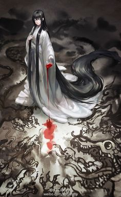 She has to give evidence that her emperor is still human to the being. Interestingly, he isn't human. Even more interesting, the blood is accepted as his. Manga Anime, Art Manga, Character Inspiration, Character Art, Character Design, Pixiv Fantasia, Another Anime, Wow Art, Chinese Art