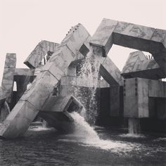 Architecture  Modern design : Brutalist Fountain.