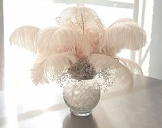20 White Ostrich Feather Centerpieces