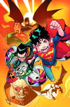 Super-Sons Vol.1 September 2016New comic series focusing on Damian Wayne and Jonathan Kent, the sons of Batman and Superman, respectively. GUYA IM SCREAMING ABOUT THIS LOOK AT THEM THEIR ADORBLE SO TINY IM SO EXCITED FOR THIS TO COME OUT