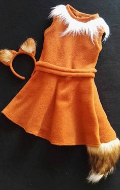 Fox girl costume dress headband / Toddler Costume / Kids fox Costume / fox dress up / handmade costume / Halloween costume - Kids Costumes Kids Fox Costume, Fox Halloween Costume, Kids Costumes Girls, Toddler Costumes, Halloween Costumes For Girls, Baby Costumes, Halloween Kids, Halloween Recipe, Halloween Projects