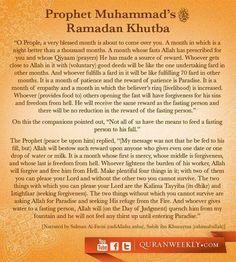 """Khutba of Ramadan by Prophet Muhammad (peace be upon him). Islamic Qoutes, Islamic Teachings, Islamic Dua, Fasting Ramadan, La Ilaha Illallah, Islamic Studies, All About Islam, Learn Islam, Quran Quotes"