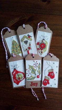 Cross stitch Christmas tags Cross Stitch Christmas Cards, Xmas Cross Stitch, Cross Stitch Bookmarks, Cross Stitch Cards, Cross Stitch Flowers, Christmas Cross, Cross Stitching, Cross Stitch Embroidery, Modern Cross Stitch Patterns