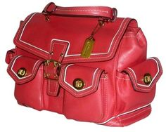 Coach Buckle Turn Lock Brass Satchel in Coral