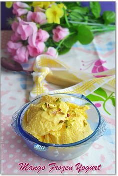 """Mango Frozen Yogurt (Fro Yo).  P.S. The """"hung curd"""" referred to in the recipe is made by hanging yogurt in a cloth for a while to remove excess water."""