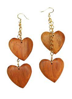 Wood Heart Earrings.