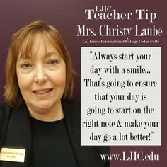 Meet Mrs. Christy Laube, Term 1 Instructor at La' James International College in Cedar Falls. We LOVE the advice she shares in today's Teacher Tip ➳ https://youtu.be/vn7U_EcvnKU