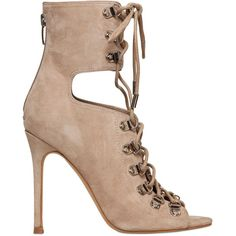 Kendall+kylie Women 100mm Suede Lace-up Ankle Boots (€280) ❤ liked on Polyvore featuring shoes, boots, ankle booties, nude, high heel booties, suede ankle boots, lace up ankle boots, lace up booties and suede lace up booties