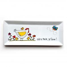 Assiette décorative • Mère poule, je t'aime ! Peinte à la main par l'artiste Isabelle Malo du Québec, Canada