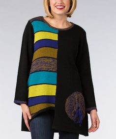 Another great find on #zulily! Blue Fabric Block Scoop Neck Sweater #zulilyfinds