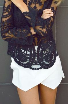 black lace outfit white shorts for summer fashion love this style adore pair and… Fashion Mode, Look Fashion, Womens Fashion, Fashion Trends, Feminine Fashion, Gothic Fashion, Fashion Blogs, Steampunk Fashion, White Fashion