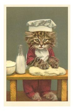 Kitten Making Bread Premium Poster