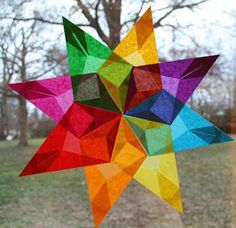 Stained Glass Paper Stars | AllFreeKidsCrafts.com