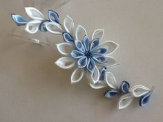 Hair Clip or Hair Pin - Seed Beads on Ivory & Baby Blue Kanzashi Flower, Wedding Flowers, Bridal Flowers, Hair Accessories