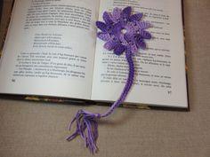 Marque-pages Soleil au crochet violet bijoux livre marque pages 100% coton Phildar fait-main : Marque-pages par artken6l