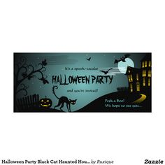 Halloween Party Black Cat Haunted House Blue 4x9.25 Paper Invitation Card
