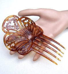 Vintage hair comb celluloid faux tortoiseshell Victorian Spanish hair accessory headpiece headdress hair ornament