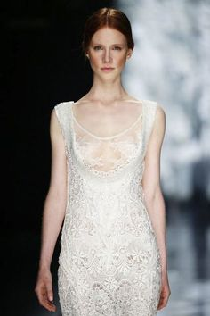 Lingerie LadyFree the nipple, brides to be. While it may not seem completely realistic for every bride's taste or body type, boobs were the star of the show in many a lingerie-like look. Leave the pasties at home — it's your day.Yolan Cris #refinery29 http://www.refinery29.com/barcelona-bridal-week-trends#slide-4