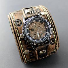 Brown leather wrist watch Wide leather cuff by CuckooNestArtStudio