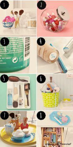 Ideias de organização para banheiro -- bem pensada a ideia de marcar a data em que maquiagem é aberta!