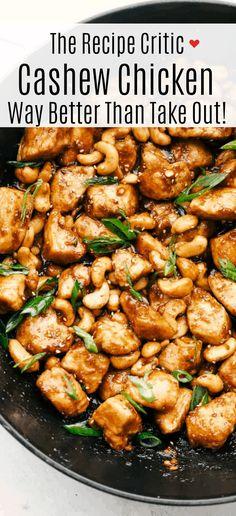Easy Cashew Chicken Recipe, Chicken Cashew Stir Fry, Cashew Recipes, Asian Recipes, Healthy Recipes, Chicken With Cashews, Cubed Chicken Recipes, Chinese Garlic Chicken, Ethnic Recipes
