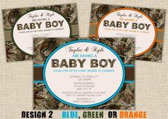 BOY Hunting Camo Baby Shower Invitation - Design 2 - Digital DIY Printable on Etsy, $15.00
