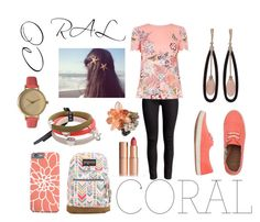 """""""Be the coral girl"""" by keziasilitonga on Polyvore featuring Reef, Oasis, Inbar, JanSport, Charlotte Tilbury, Marc by Marc Jacobs, Olivia Pratt, women's clothing, women and female"""
