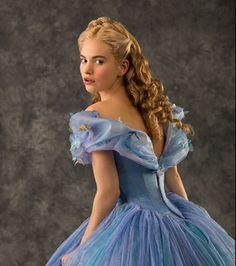 Lily James as Cinderella.