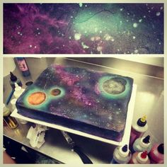 Galaxy cake, I'm glad I figured out how to do this. So cool.: Cake Cookies…