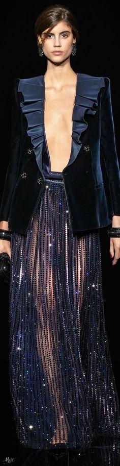 Fashion Moda, Blue Fashion, Fashion 2020, Womens Fashion, Armani Clothing, Armani Prive, Crop Top Outfits, Glamour, Haute Couture Fashion