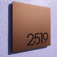 CUSTOM Minimalist Square House Number Sign in Powder Coated Aluminum. Color: Matte Copper