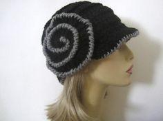 Cloche Hat in Black and Grey Crochet Flower Hat by ChiCreations Crochet Flower Hat, Flower Hats, Cloche Hat, Black And Grey, Cloche Hats