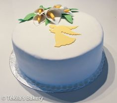 Funeral cake with angel and callas.
