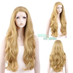 "26"" Long Blonde Wavy Lace Front Wig Heat Resistant #WigFashion #FullWig"