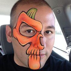 Painting again today. Halloween pumpkin face paint skull